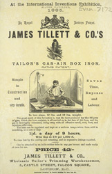 Advert For James Tillett & Co's Gas Air Box Iron